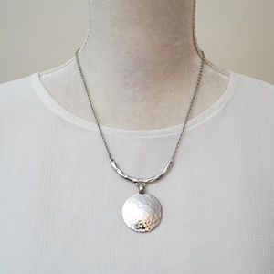 Lia Sophia Silver Tone Disc Necklace